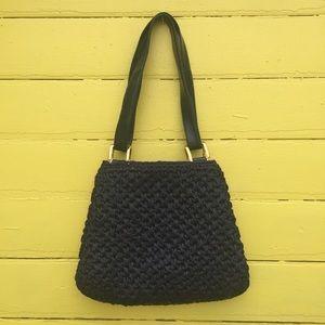 1950/1960s Convertible Straps Navy Straw Handbag